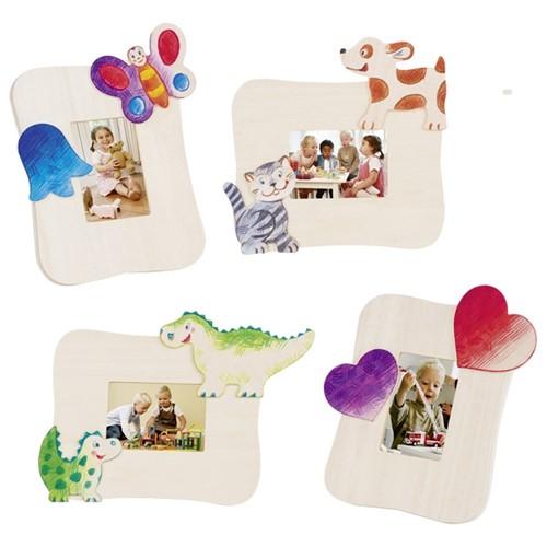 Fotolijstjes kinderen, beschilderbaar, set van 4 (Hout)