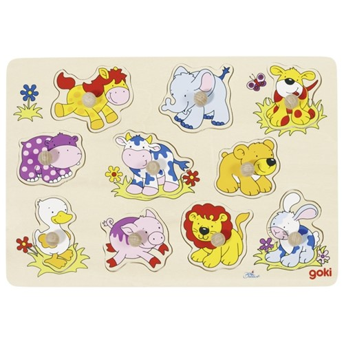 Inlegpuzzel: Babydieren - 10 st (Hout)