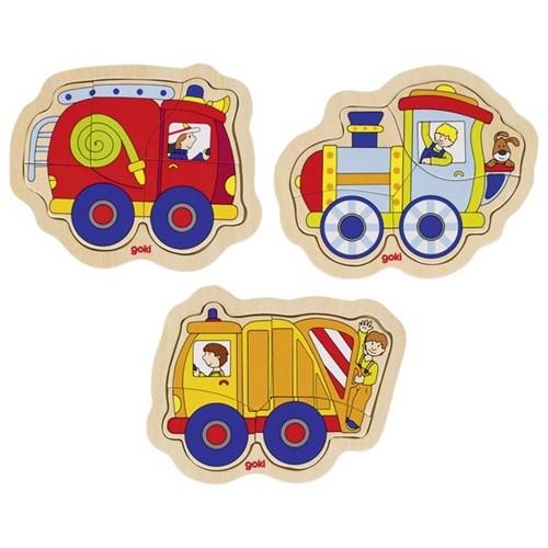 Inlegpuzzel klein 4 st - Set van 3 voertuigen assorti