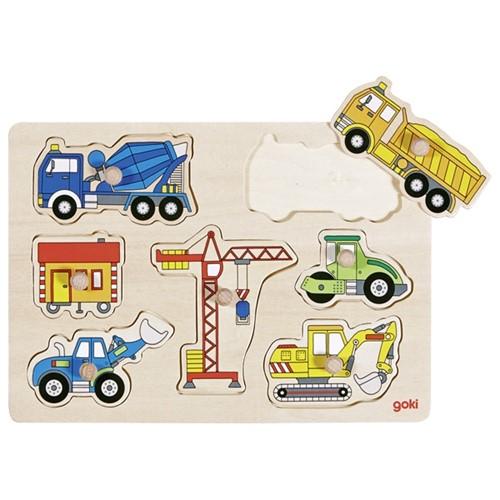 Inlegpuzzel: Grote voertuigen op de bouwplaats 7 st (Hout)