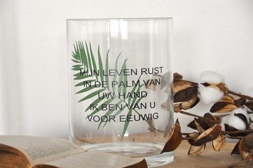 Cilinder Vaas L: Mijn leven rust in de palm van Uw... (Glas)
