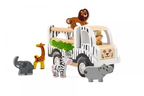 Houten Safari Auto met 6 dieren - terugtrek-auto