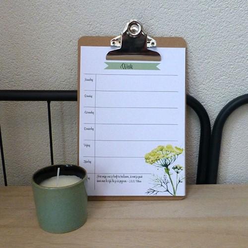 Weekplanner met ind. klembord, A5 (Hout)