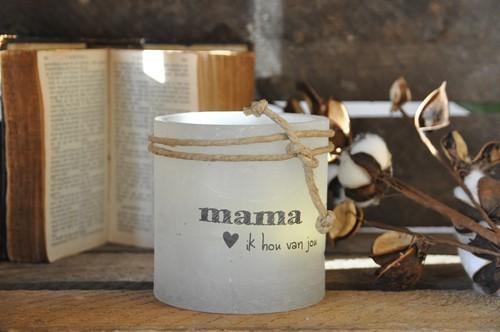 Windlicht S 'Mama ik hou van jou, Grijs (Cadeauproducten)