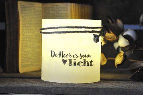 Windlicht S 'De Heer is jouw licht', Ivoor (Cadeauproducten)