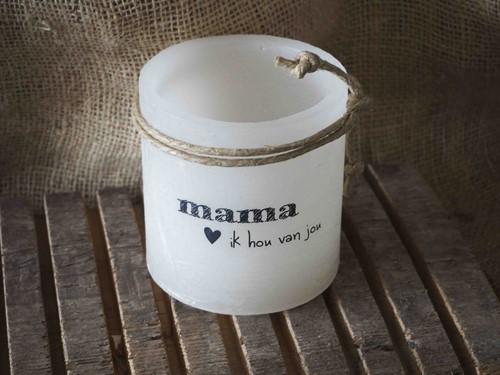 Windlicht S 'Mama ik hou van jou, Ivoor (Cadeauproducten)