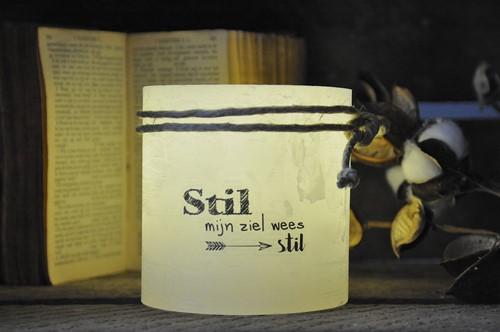 Windlicht S 'Stil mijn ziel wees stil', Ivoor (Cadeauproducten)