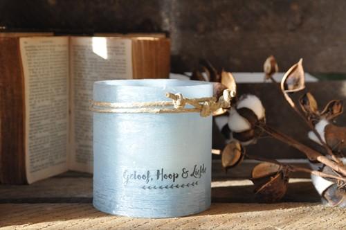 Windlicht S 'Geloof, hoop & Liefde', Blauw (Cadeauproducten)