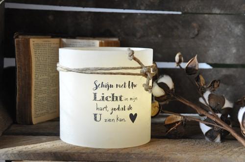 Windlicht M 'Schijn met Uw licht in mijn hart', Ivoor (Cadeauproducten)