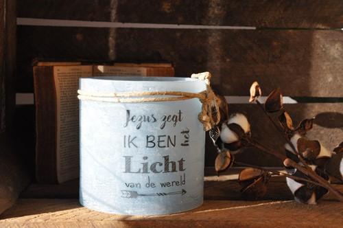 Windlicht M 'Jezus zegt, ik ben het Licht van de wereld, Blauw (Cadeauproducten)