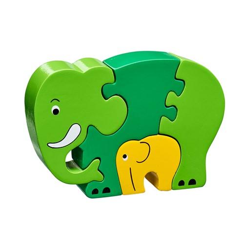 Puzzel Olifant met Jong - Groen (Hout)