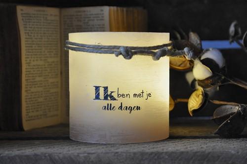 Windlicht S 'Ik ben met je, alle dagen', Taupe (Cadeauproducten)