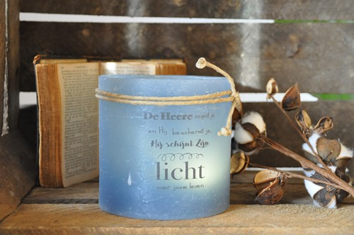 Windlicht M  De Heere zegent je en Hij beschermt je......, Blauw (Cadeauproducten)