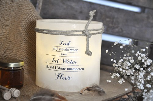 Windlicht M, Leid mij steeds weer naar het Water.., Ivoor (Cadeauproducten)