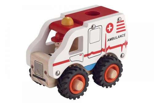 Houten Ambulance met rubberen wielen (Cadeauproducten)