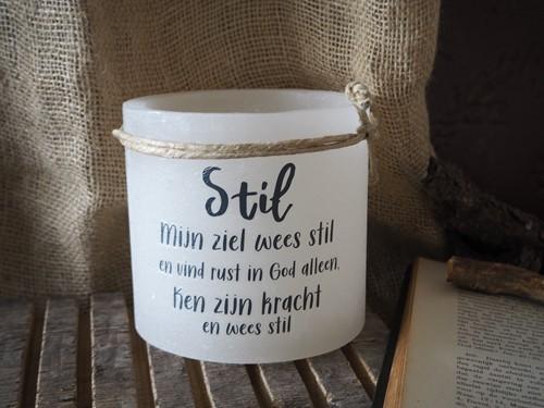 Windlicht M: Stil mijn ziel wees stil en vind rust - Ivoor (Cadeauproducten)