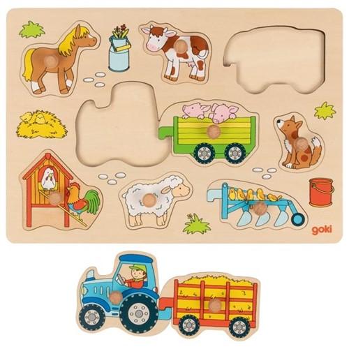 Inlegpuzzel: Tractor op de boerderij (Hout)