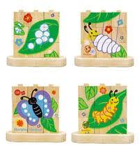 Blokpuzzel Van Rups naar Vlinder (Hout)