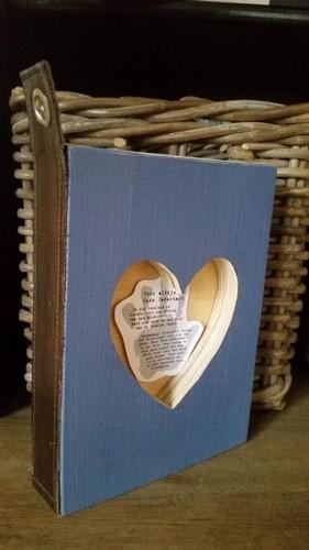 Vaderhart boek Blauw (Hout)