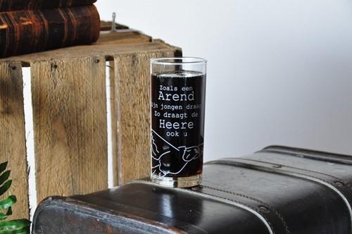 Drinkglas, thema Bemoediging, Arend (Glas)
