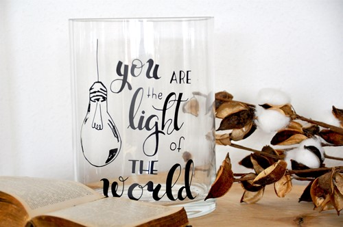 Cilinder Vaas L: You are the Light of the World (Glas)