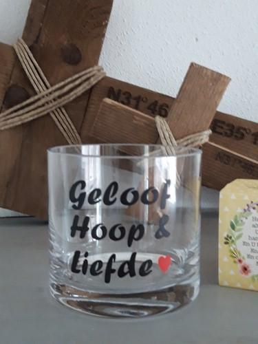 Cilinder Vaas S: Geloof, Hoop & Liefde - hartje (Glas)