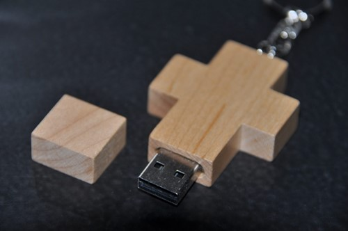 USB Kruis Hout Blanco, 16 GB (Hout)