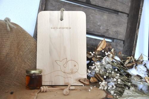 Broodplankje kids Jona in de vis - God is altijd bij je (Hout)