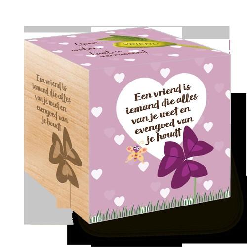 Groei Kubus hout:  Een vriend is iemand die alles van je en eveng (Hout)