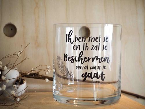 Cilinder Vaas S: Ik ben met je - Nieuw (Glas)
