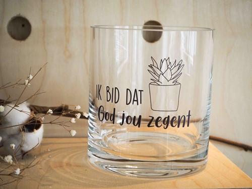 Cilinder Vaas S: Ik bid dat God je zegent - Nieuw (Glas)