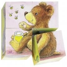 Blokpuzzel 4 stukjes Babydieren (Canvas)
