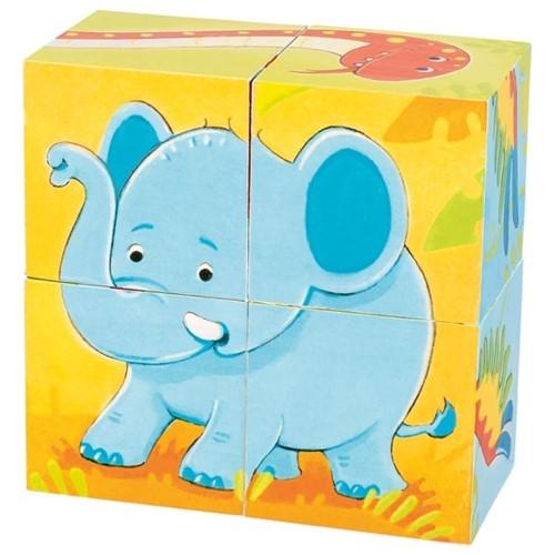 Blokpuzzel 4 stukjes Dieren (3) (Canvas)