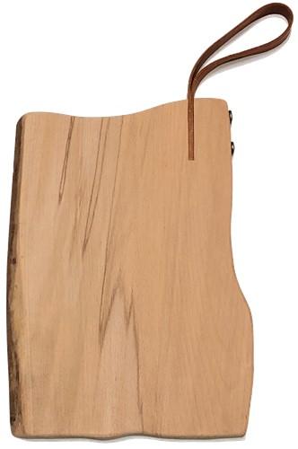 Rustieke snijplank met leren lus (Beukenhout)
