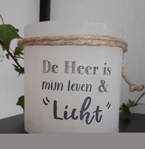 Windlicht S - De Heer is mijn Leven en Licht - Ivoor (Cadeauproducten)