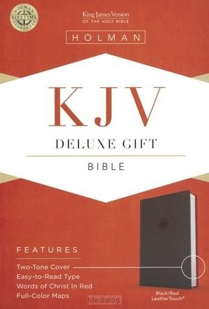KJV deluxe gift bible black/red leathert (Boek)