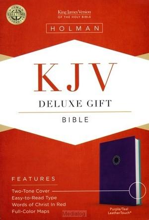 KJV deluxe gift bible purple/teal leathe (Boek)