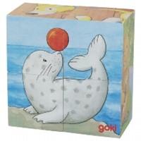 Blokpuzzel 4 stukjes Dieren (2) (Canvas)