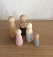 Houten poppetjes meisjes 4,3 cm set 10st (Hout)