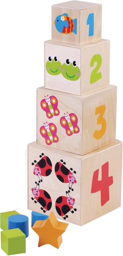 Stapelblokken hout met cijfers, vormen en dieren