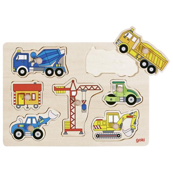 Inlegpuzzel: Grote voertuigen op de bouwplaats 7 st