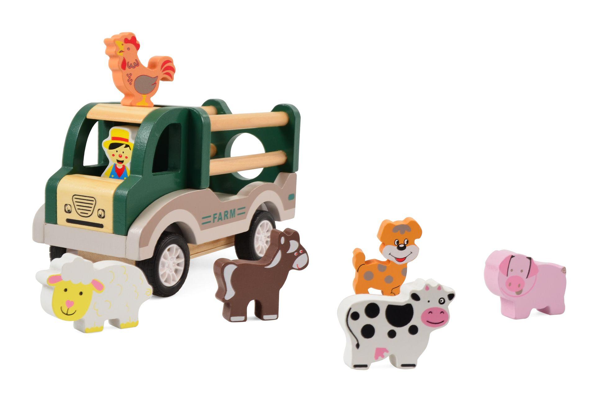 Houten Boerderij Truck met 6 dieren - terugtrek-auto