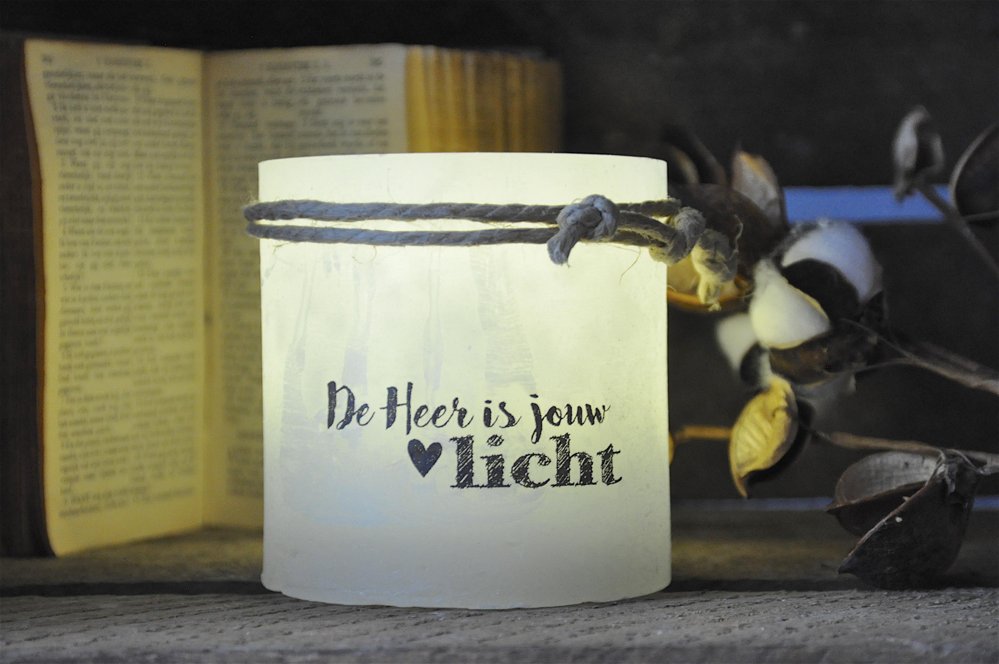 Windlicht S 'De Heer is jouw licht', Grijs
