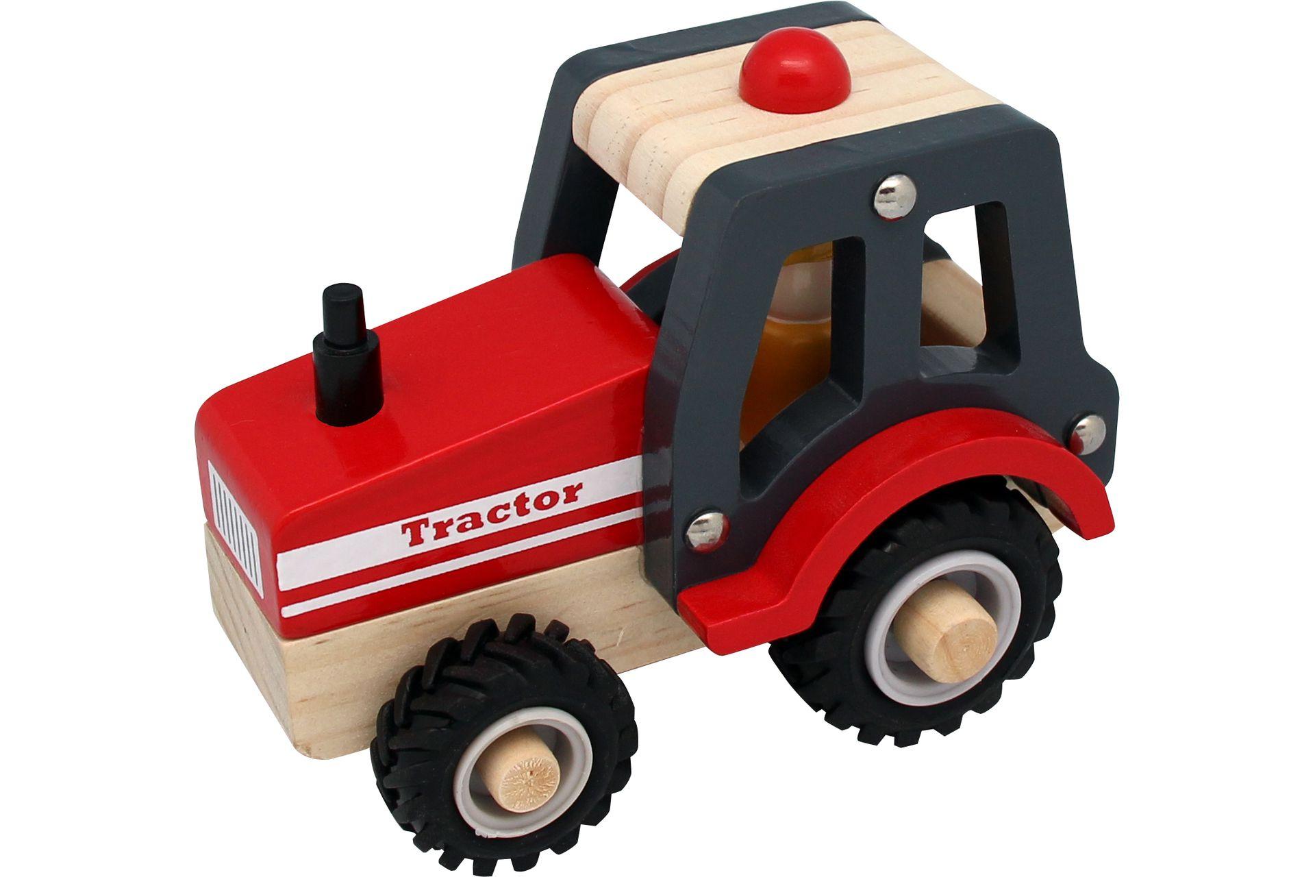 Houten Tractor met rubberen wielen