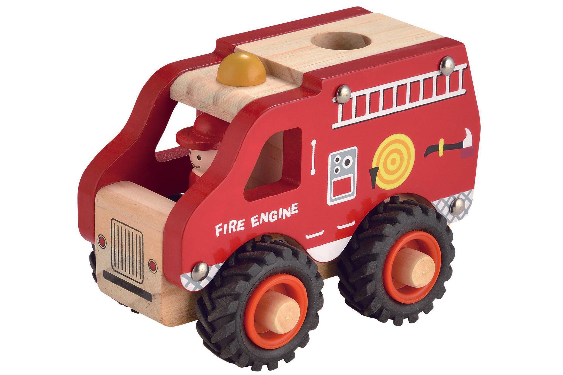 Houten Brandweerwagen met rubberen wielen