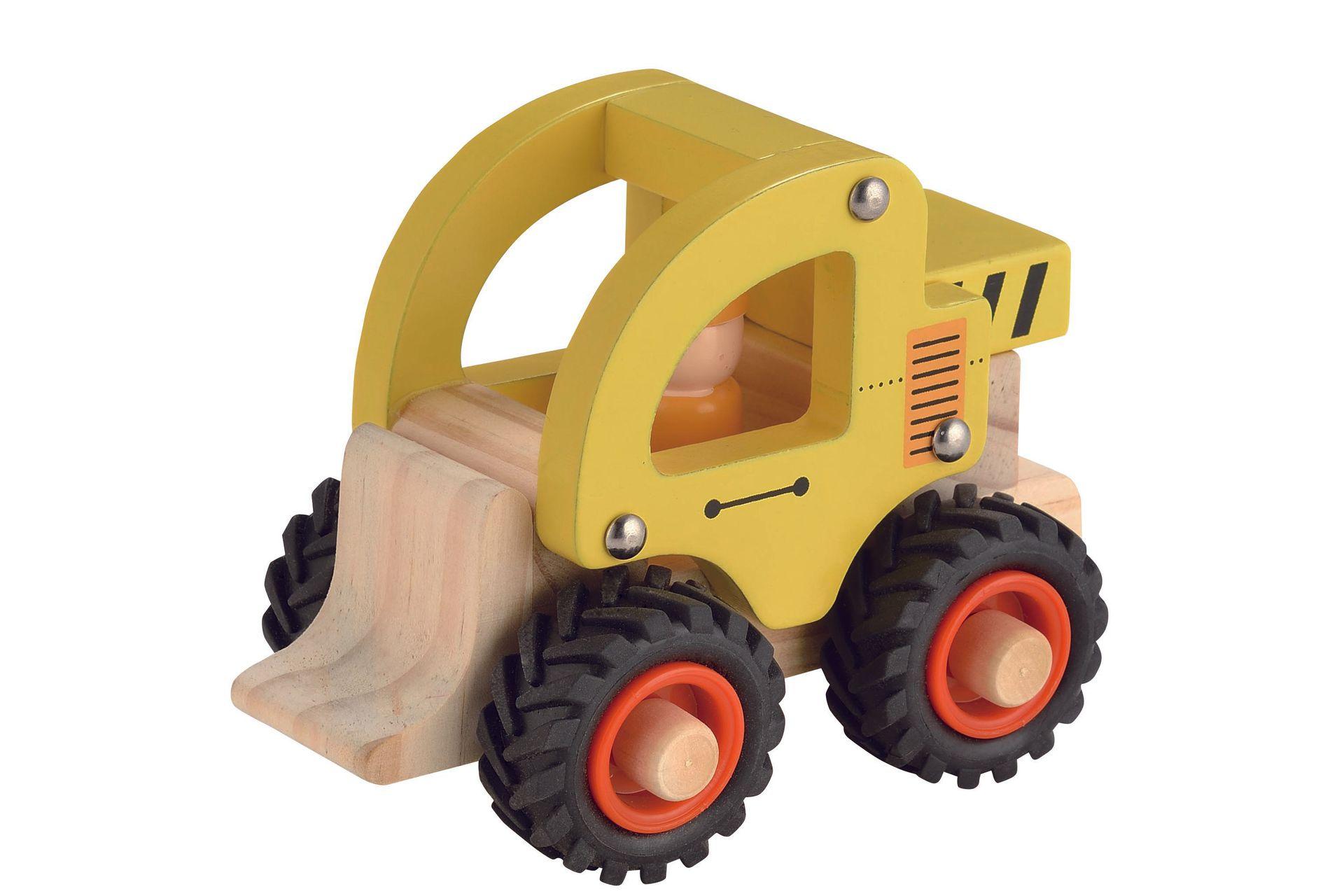 Houten Bulldozer met rubberen wielen