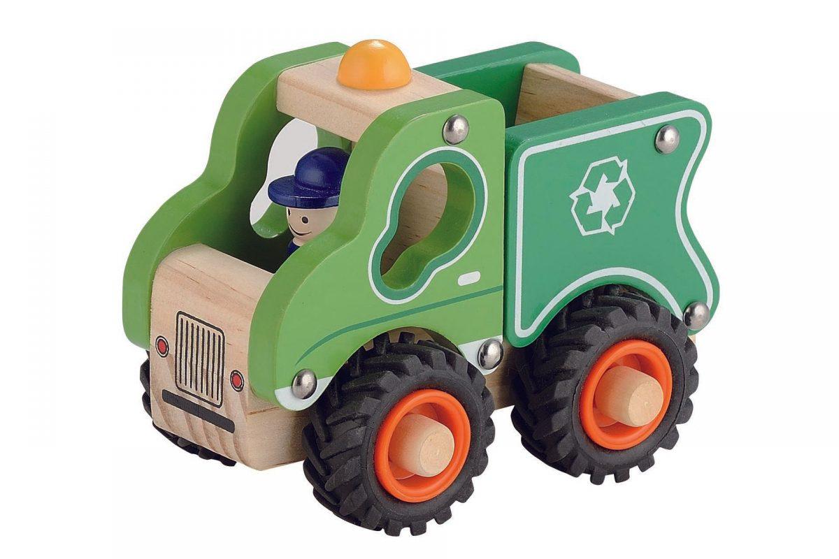 Houten Vuilniswagen met rubberen wielen