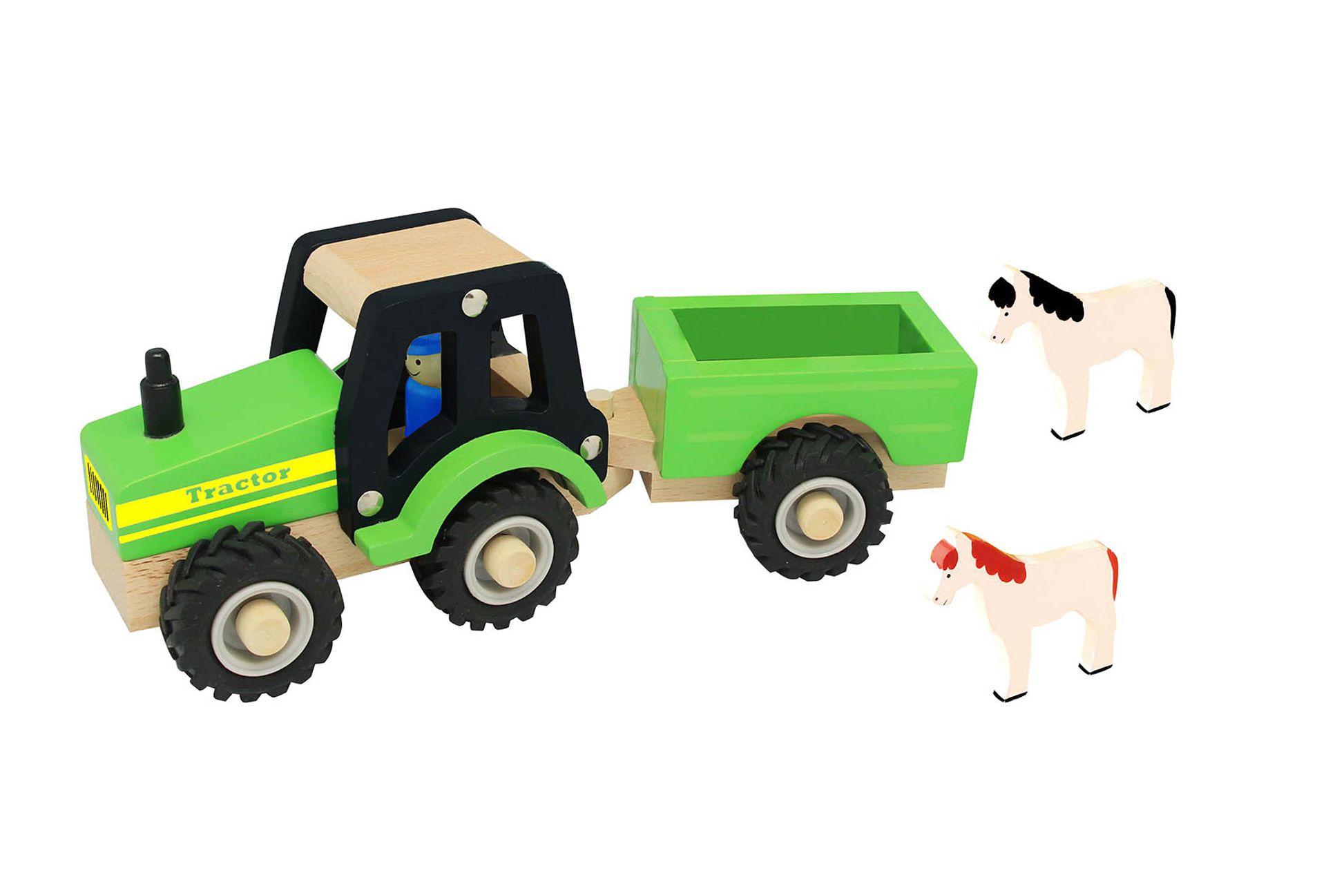 Houten Tractor met aanhangwagen en paarden, rubberen wielen
