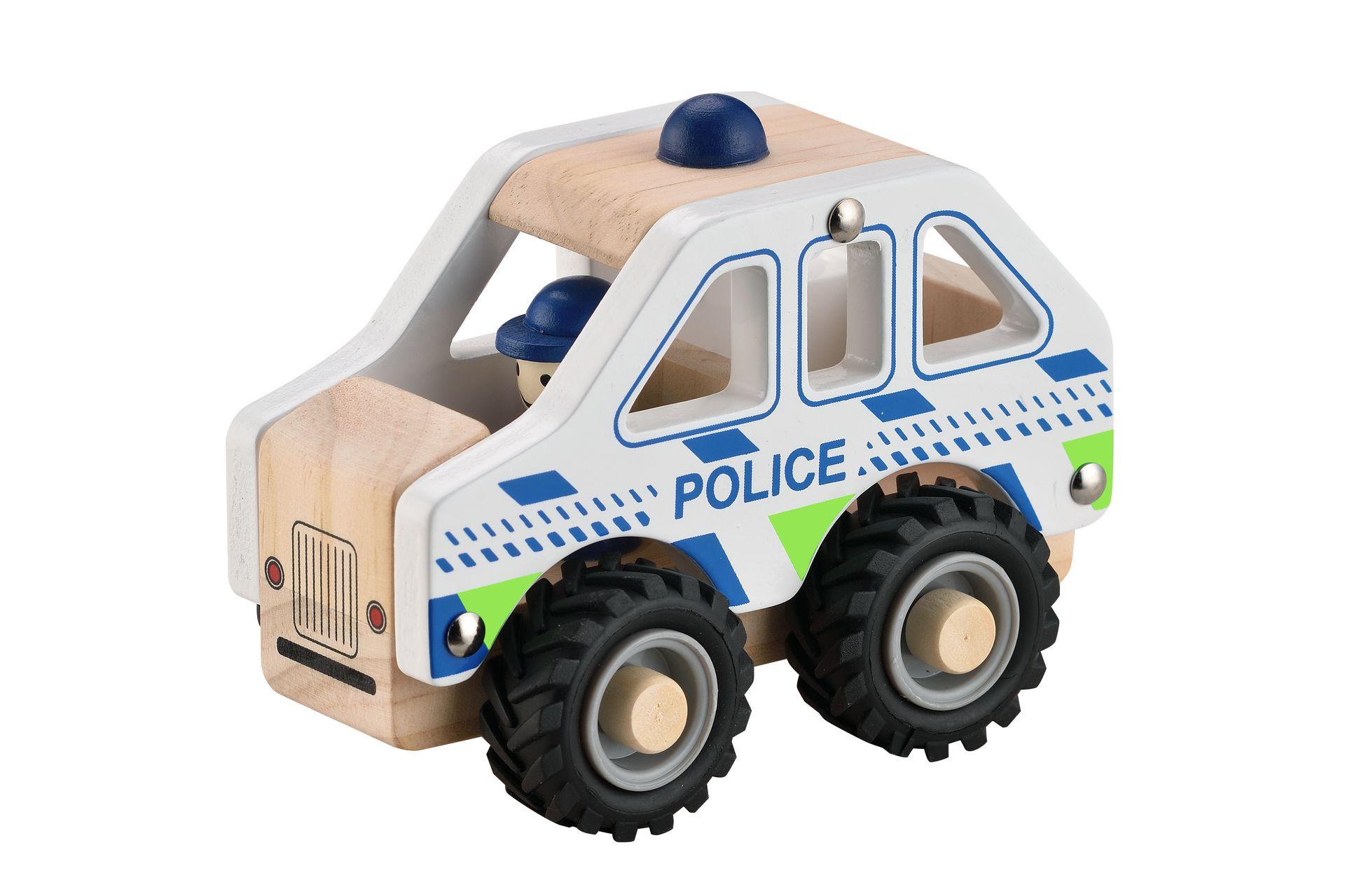 Houten Politieauto met rubberen wielen