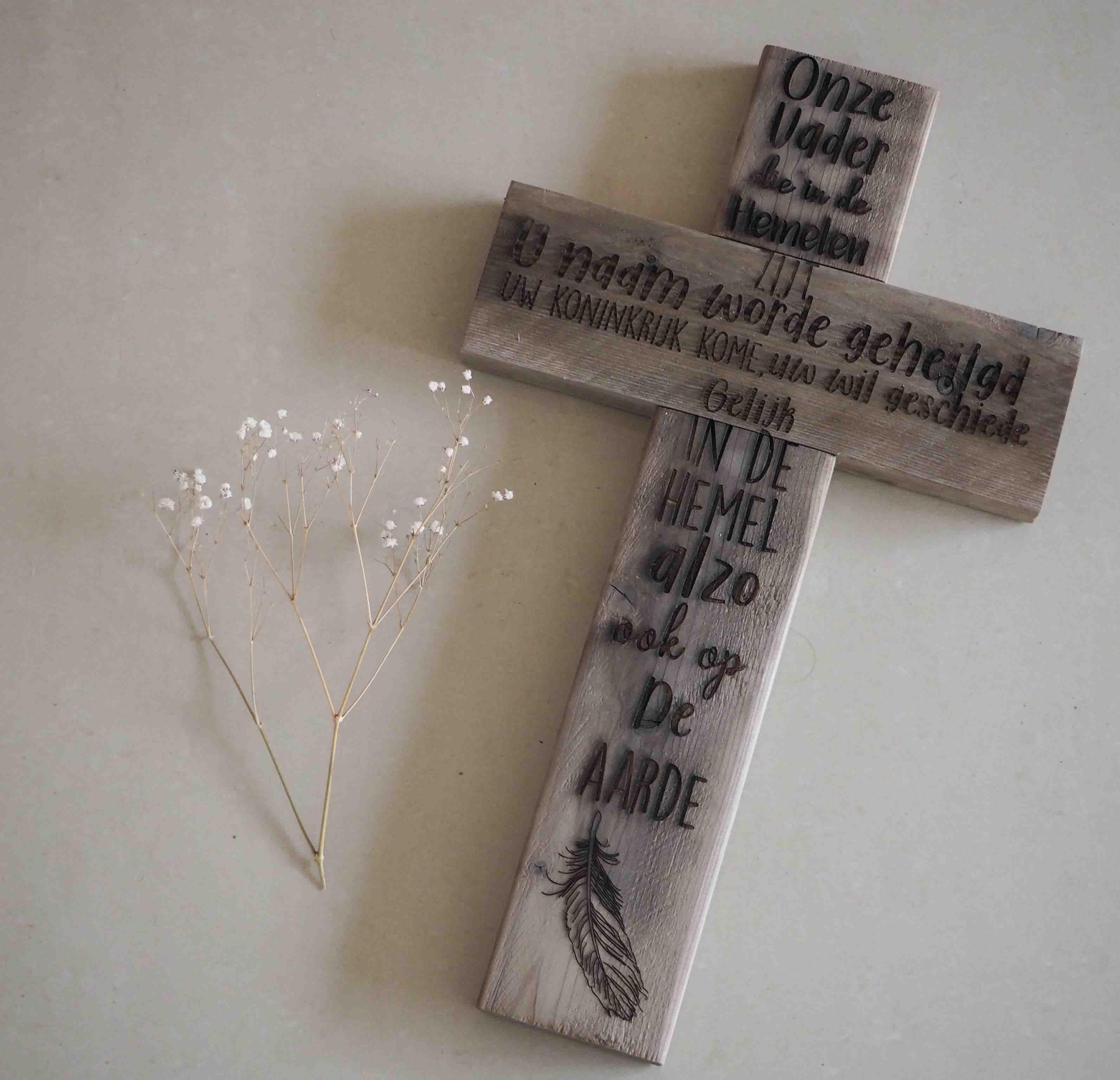 Houten Kruis Onze Vader M Rustiek